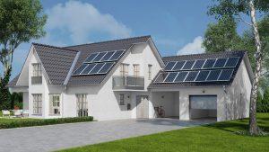 Neubauplanung eines Wohnhausese mit Solaranlage Effizienzhaus 55%