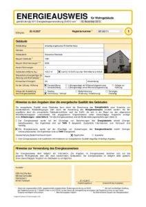 Energieausweis Seite 1, Darstellung des Energieausweises