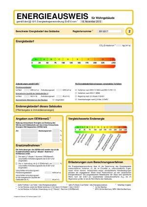 Energieverbrauchsausweis Seite 2, EnEV 2014, Energieausweis Wohngebäude Hof Erlangen Nürnberg, Bedarfsausweis